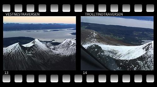 #13: Troltinden [fra venstre], Ytstetinden og Remmemstinden fotografert bare noen dager senere av min bror som er pilot hos Widerøe. #14: Close-up view av Trolltindtraversen [Brustindtraversen].