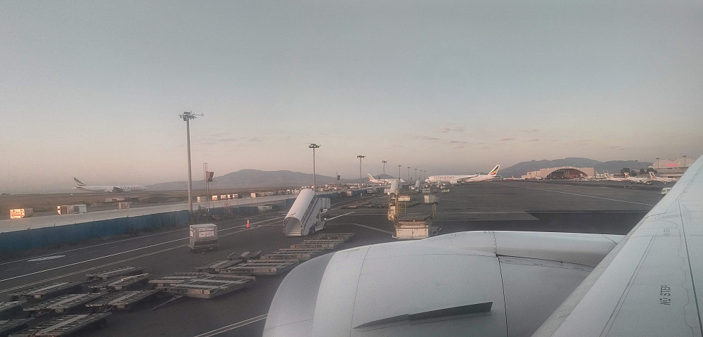 #1: At Bole International Airport upon arrival in Addis Ababa. The mountain to the left is Mount Furi (2839 m.a.s.l.), and the one to the right is Wochecha (3391 m.a.s.l.).