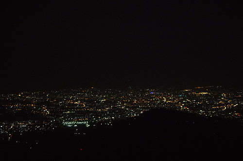 Addis Ababa by night, as seen from the summit of Mount Furi.
