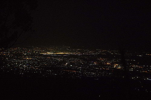 View from Mount Furi towards the Bole International Airport at night.
