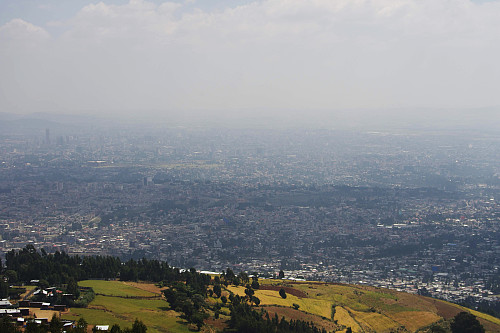 "#4: View over the city of Addis Ababa as you climb up the eastern side of ""Wochecha East""."