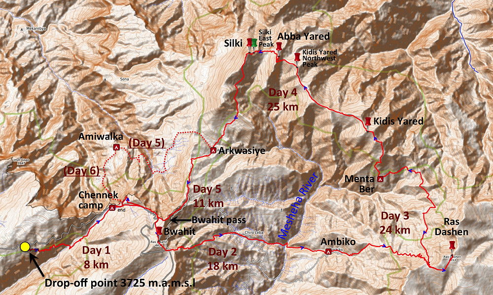 #1: Our 5-day round trip in the Simien Mountains. Day 1: From our drop-off point to the Chenneck Camp site. Day 2: From Chenneck via Ras Bwahit to the Ambiko Camp. Day 3: From Ambiko via Ras Dashen to a village called Menta Ber. Day 4 From Menta Ber via Kidis Yared, Abba Yared and Mount Silki to Arkwasiye. Day 5: From Arkwasiye over the Bwahit Pass back to Chenneck, form where we were picked up the following day. We originally planned to go from Arkwasiye to Amiwalka on the 5th day, and then from Amiwalka to Chenneck on the morning of 6th day, i.e. prior to being picked up at Chenneck. A huge landslide had taken away part of the path between Amiwalka and Chenneck, however, hence we had to skip that part of our plan.