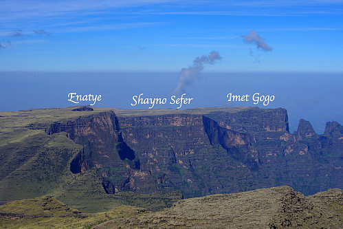 #3: From the western part of the Simien Mountains National Park: Enatye (4,070 m.a.m.s.l), Shayno Sefer (3,962 m.a.m.s.l.) and Imet Gogo (3,927 m.a.m.s.l.). These are the most commonly visited mountains in the park, along with Mount Bwahit, or Ras Bwahit (4,430 m.a.m.s.l.), from which this image was captured. [Image from 2018].