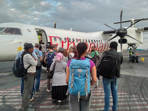 #4: Flying from Addis Ababa to Gondar. My daughter with the blue backpack.