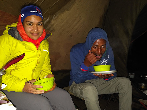 #10: Dinner in our kitchen tent at the Chennek camp site. Vår to the left, and Enyew to the right.