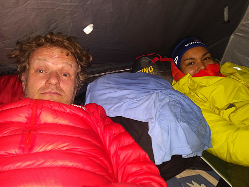 #11: Going early to bed in our tent on this first evening of our trip. I tried hard not to look too tired on this photo.