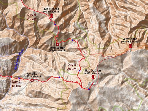 #33: Dotted line showing my original plan of even summiting Mount Weynobar.