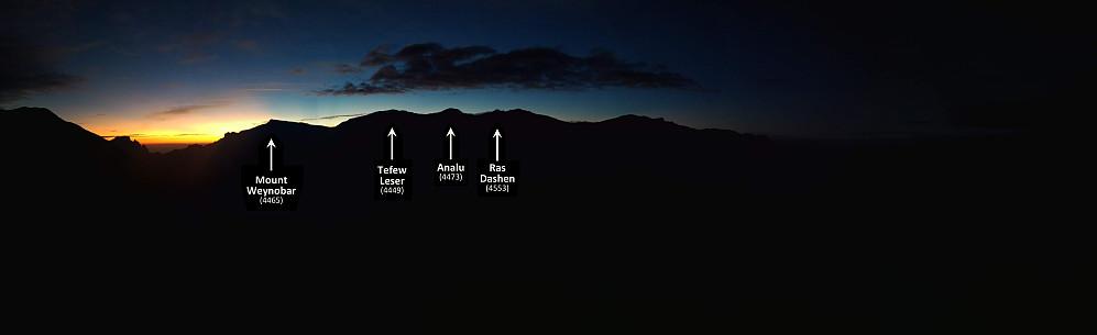#38: Sunrise behind Mount Weynobar, Tefew Leser, Analu and Ras Dashen. The image was captured as we were climbing Mount Kidis Yared from Menta Ber.