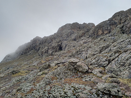 #52: Looking back up at the summit.
