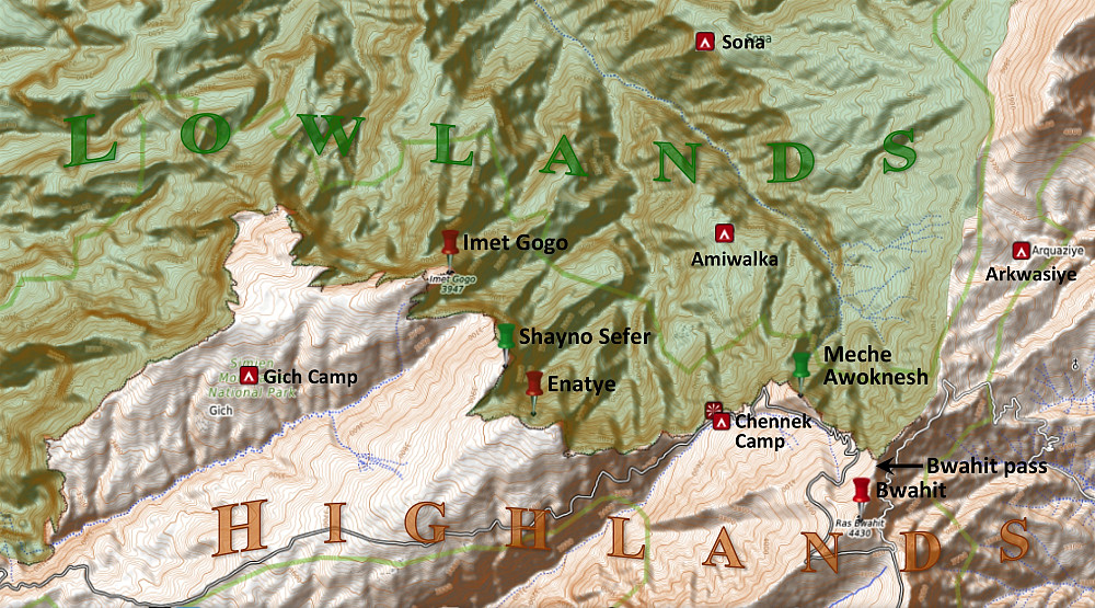 #63: The map highlights the Lowlands in green. Notice how close the escarpment between the Highlands and the Lowlands is to the summit of Ras Bwahit. There is a narrow passageway extremely close to the escarpment at 4200 m.a.m.s.l. [i.e. about 230 meters below the summit of Bwahit]. When crossing over from the western part of the park to the eastern (or wise versa), you have to either 1) cross over at the Bwahit Pass, 2) cross over at the summit or south of the summit of Bwahit (as we did on our way to Ras Dashen), or 3) you can cross over via the Lowlands. As the Lowland option was currently unavailable due to an earth slide, and as we had already summited Bwahit on this journey; we chose the Bwahit Pass for our return to Chennek.