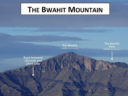 #65: The Bwahit Mountain as seen from Kidis Yared. The summit, or ras, is located 4430 m.a.m.s.l. As seen, there are steep places where the mountain is difficult to climb, and the north ridge (i.e. to the right in this image), is equally steep on the other side. At the Bwahit Pass, however, there's a trail that will take you over to the other side.