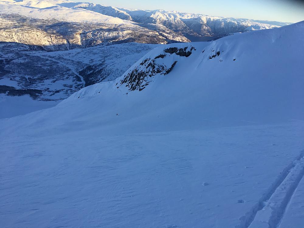 Fant god snø rett nord for Hest på Hestbreen
