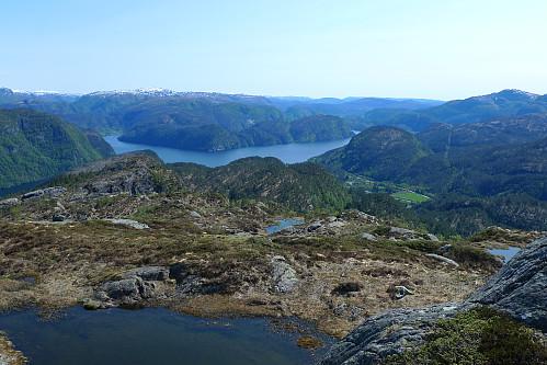 Mot Romarheimsfjorden. Almeskilet 320 moh  bakenfor den grønne flekken (Flotane)