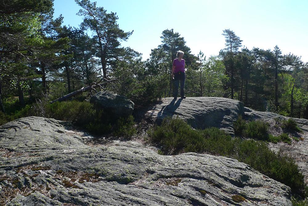 Astrid ved trig-merket på kommunetoppen i Kristiansand