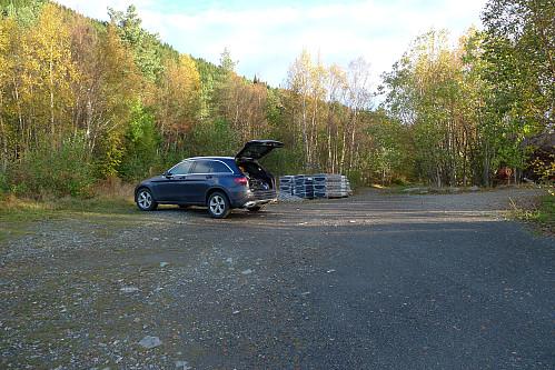 Eneste bil på parkeringen denne morgenen!