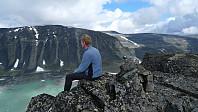 Jan på Grotbreahesten. Foto mot Trollsteinhøe
