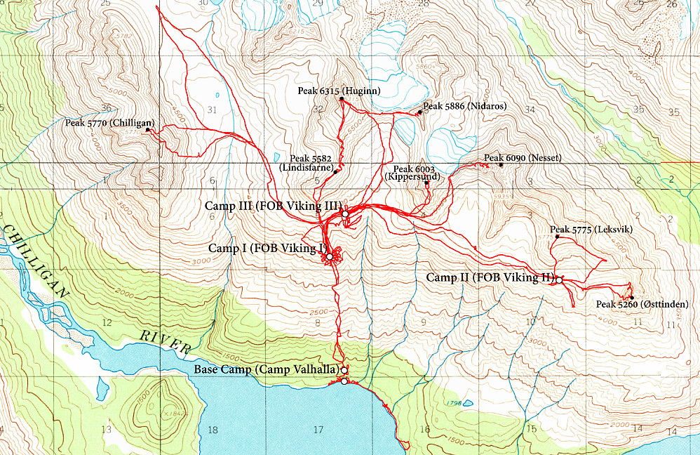 Kart over området vårt ved Chakachamna