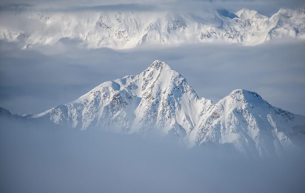 Mt. Afton og den lavere Mt. Abbott har populære skiruter ned bratte renner