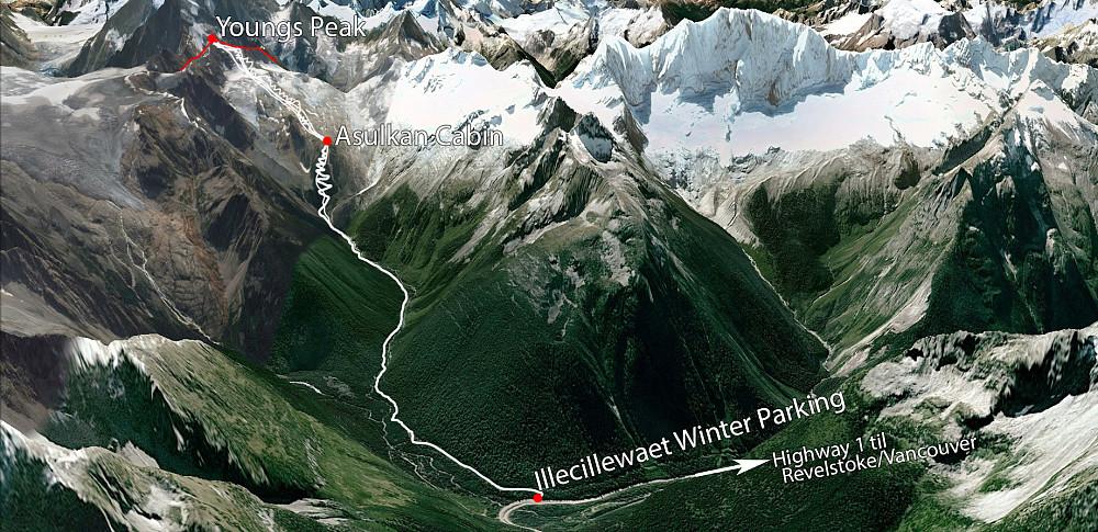3D Kart fra Google Earth med sporene jeg gikk