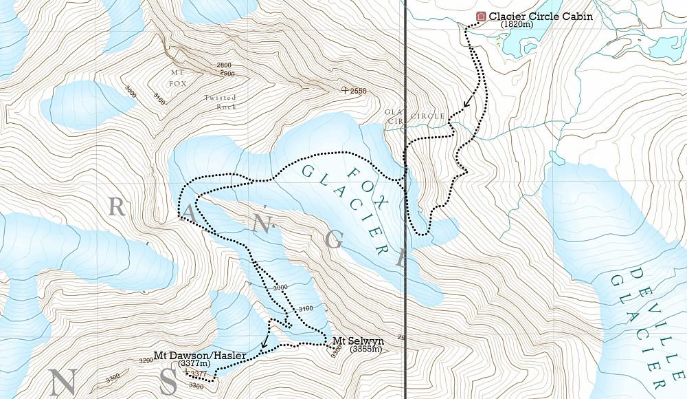 Kart over ruta jeg gikk til Dawson og Selwyn