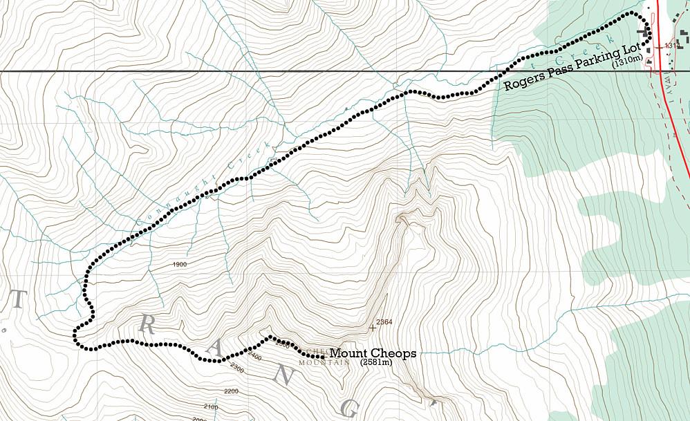Ruta opp fra Rogers Pass til Cheops