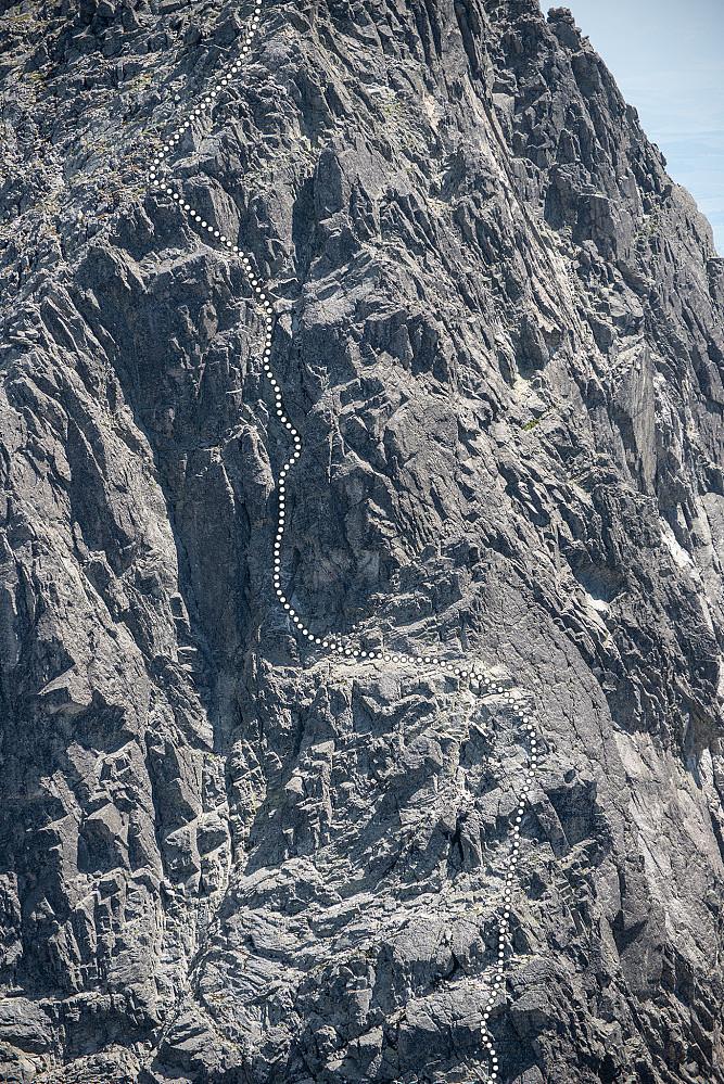 Ruten jeg gikk både opp å ned på nordsiden av Lomnický štít