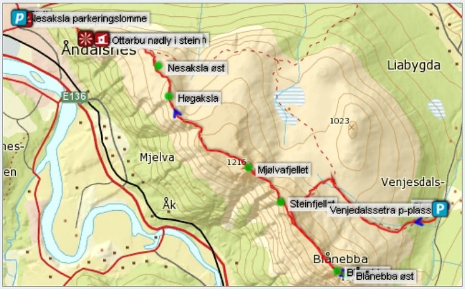 romsdalseggen kart Turartikkel: Romsdalseggen (1216moh) og Blånebba (1320moh  romsdalseggen kart