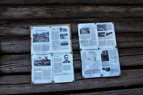 Informasjon om en tragisk hendelse vinteren 1945. Koia brukt av hjemmefronten.