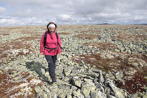 Kirsten Mostue på tur. Topper i innlandet kan være ganske flate. Som for eksempel Storhøa.