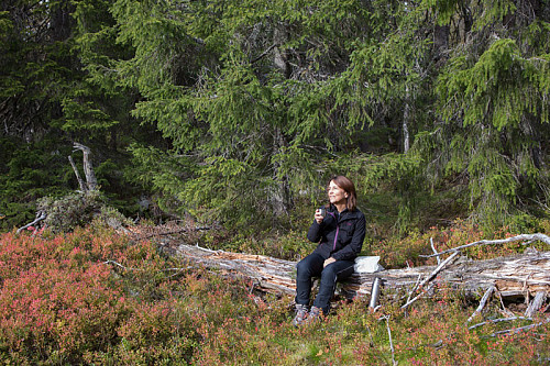 Kafferast. Kirsten Mostue koser seg i høstsola.