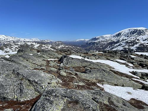 På Øst for Storevatnet (1451 m) med utsikt mot nordøst.