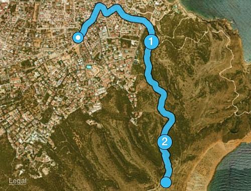 Løypen fra huset til toppen av Sierra Helada 435 moh, 2,43 km og 389 høydemeter