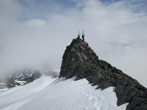 I traversen før oppstigningen til Store Bukkeholstind