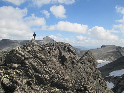 På Midtre Skarvflytind mot Tjørnholstind og Tjørnholsoksla. Den lille spisse nabben er en fortopp til hovedtoppen