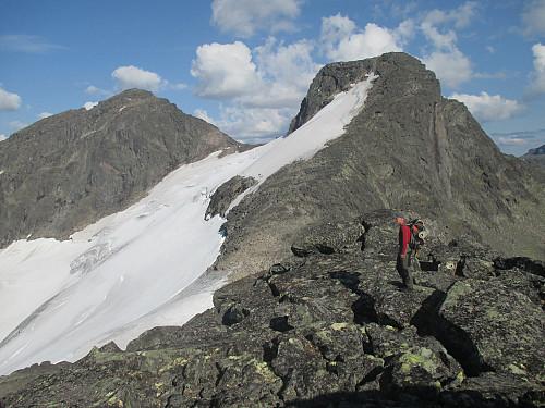 Herlig tilbakeblikk mot tvillinggtoppene Mesmog- og Langedalstind med Svartdalsbreen helt til topps