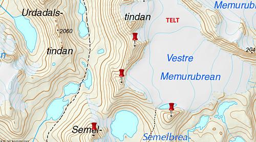 Kart med teltplassen på Vestre Memurubre markert