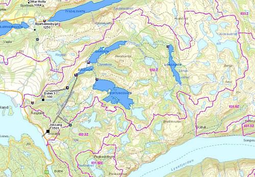 Oversikt over regulerte vatn og nedbørsfelt i Jørpelandsheia. Her framgår det at det meste av Krøys drenerer vestover til Jørpelandsvassdraget