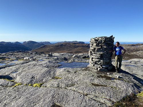 På Lågahei med fjellrekka i Jørpelandsheia frå Reinaknuten til Revafjellet i horisonten