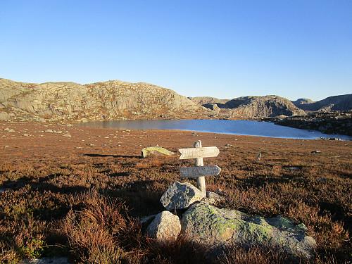 Vegvisarar mot Hildra- og Venavatnet med Svarefjellet og Svarefjellstjødna bada i kveldssol