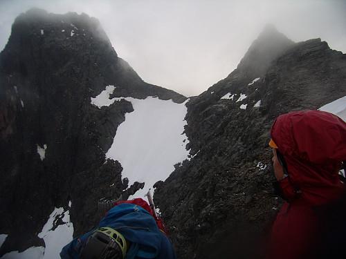 Sentraltind. Mohns skar sentral, Store Skagastølstind til venstre, Vetle til høyre