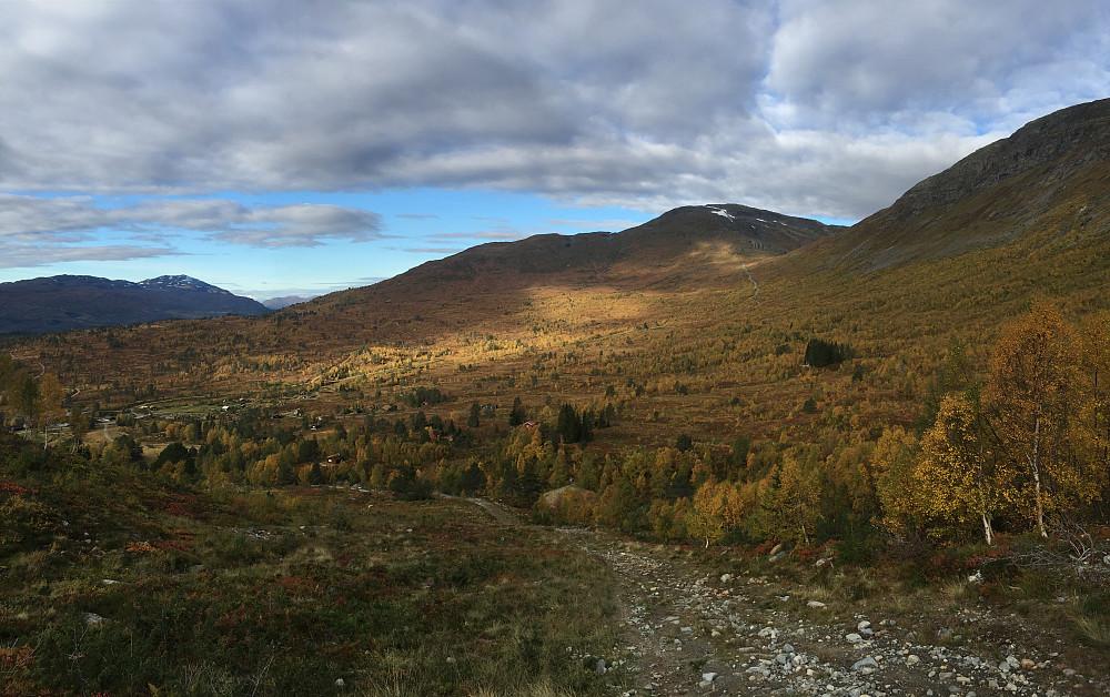 På vei ned rundløypa i retning Tonningsetra så får man sett den nitidige transportveien opp til Holevatnet i dagslys. Flott farger i fjellet på denne tiden av året som vi ser.