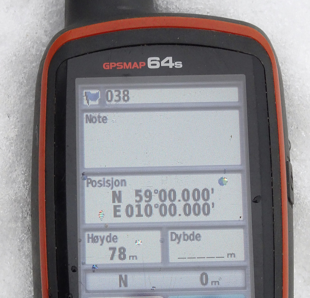 Bilde av GPS er obligatorisk. Det gikk greit å få alle nullene på plass. Ingen vanskelig null-dans med apparatet for å få det til