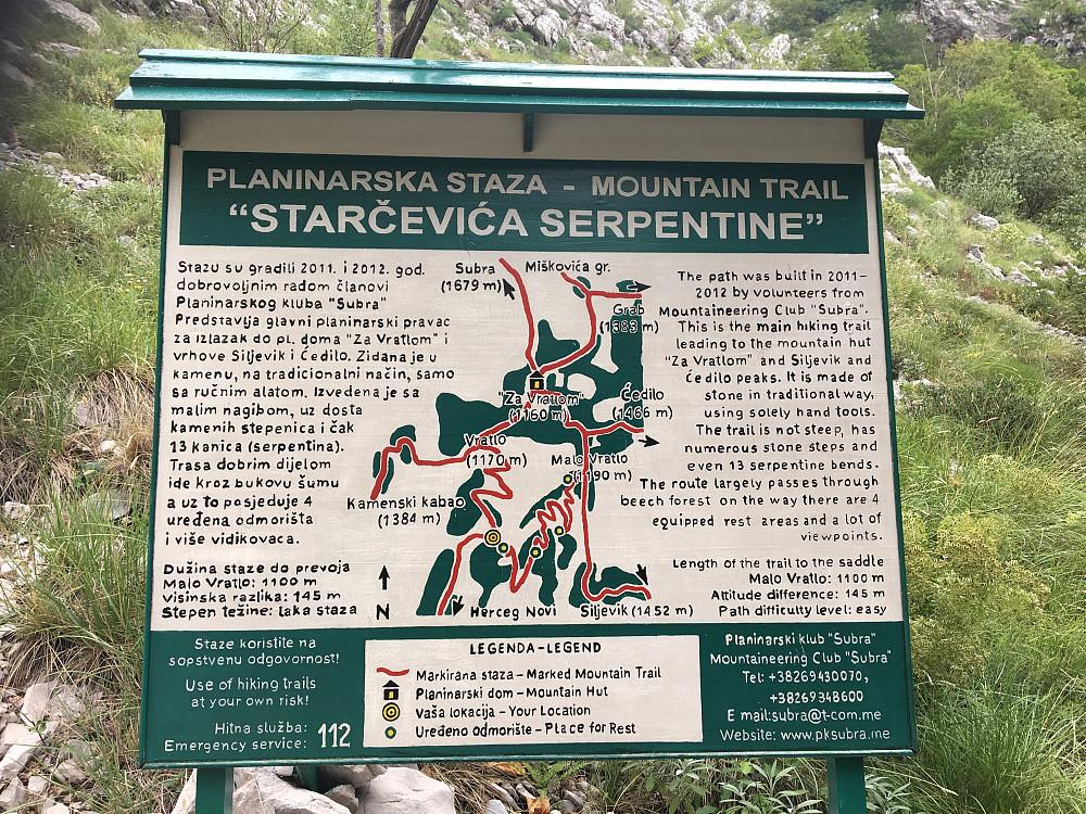 Skilt som viser stiene i området