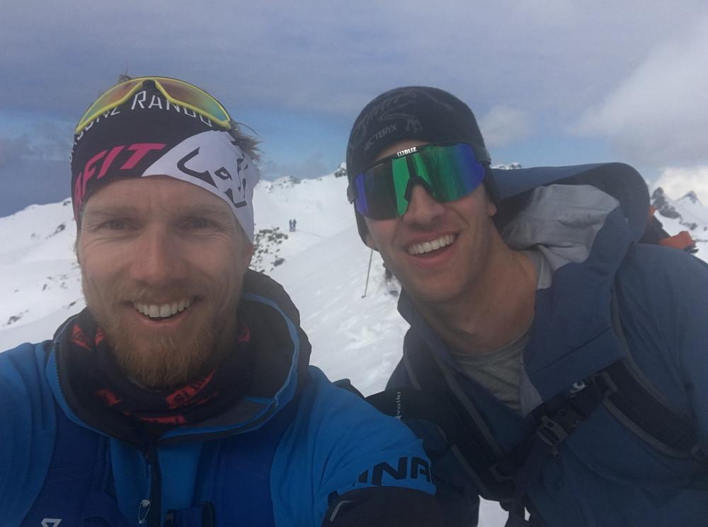 Dette er en selfie av meg og Tobias på toppen.