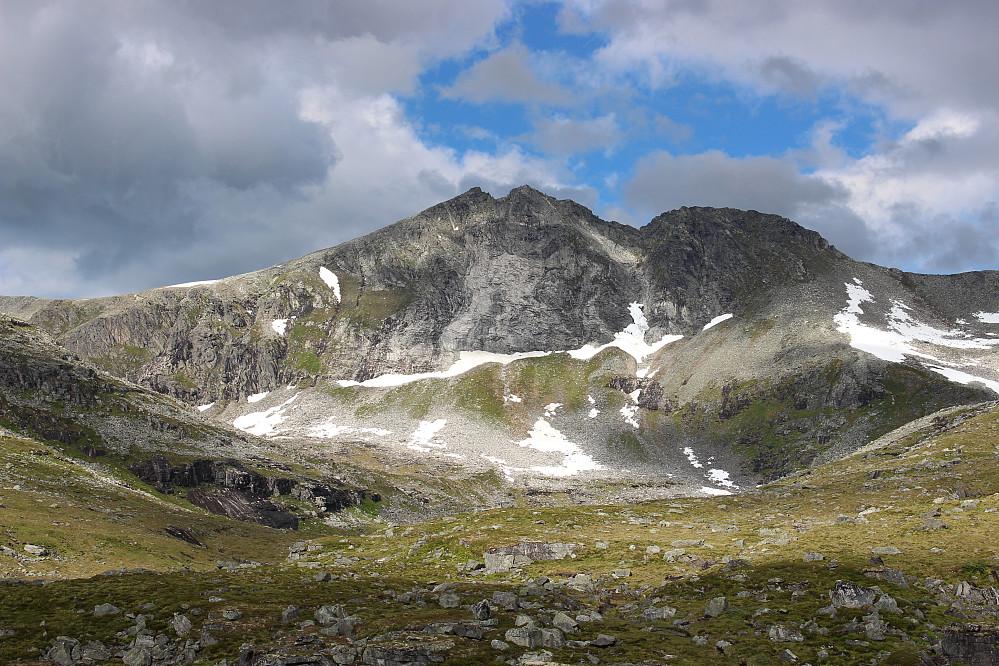 Vi kom ned til venstre for venstre snøbre (den minste) oppi fjellsida, kryssa den lille breen med stein i midten, og videre ned langs det grønne partiet. Tvilsomt om det tok kortere tid enn å følge ryggen, men nyttig erfaring.