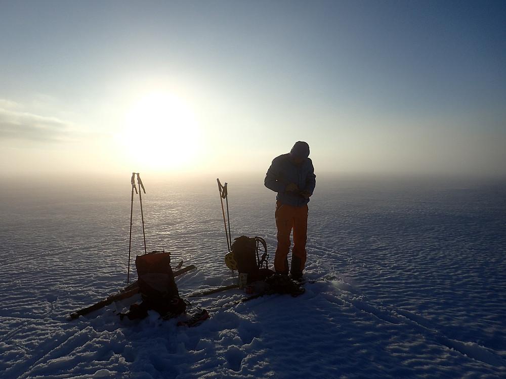 Så er det første toppunktet nådd. Etne, Kvinnherad, Folgefonna S, 1638 moh