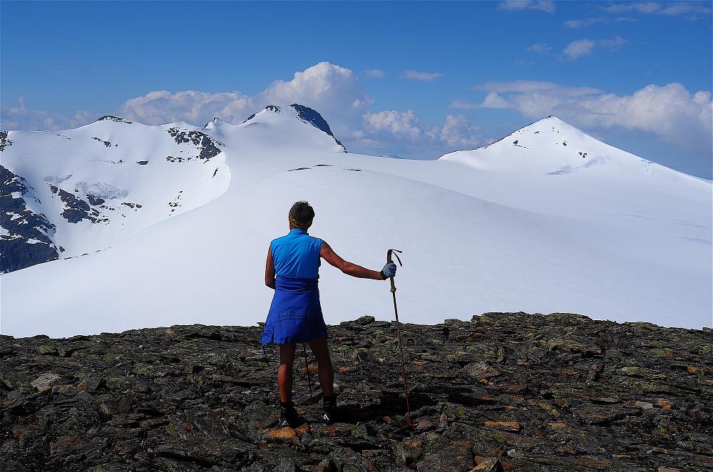 Nydelig utsikt mot Tvillingtindan, Okstinden og Okstindbreen (54 km2)