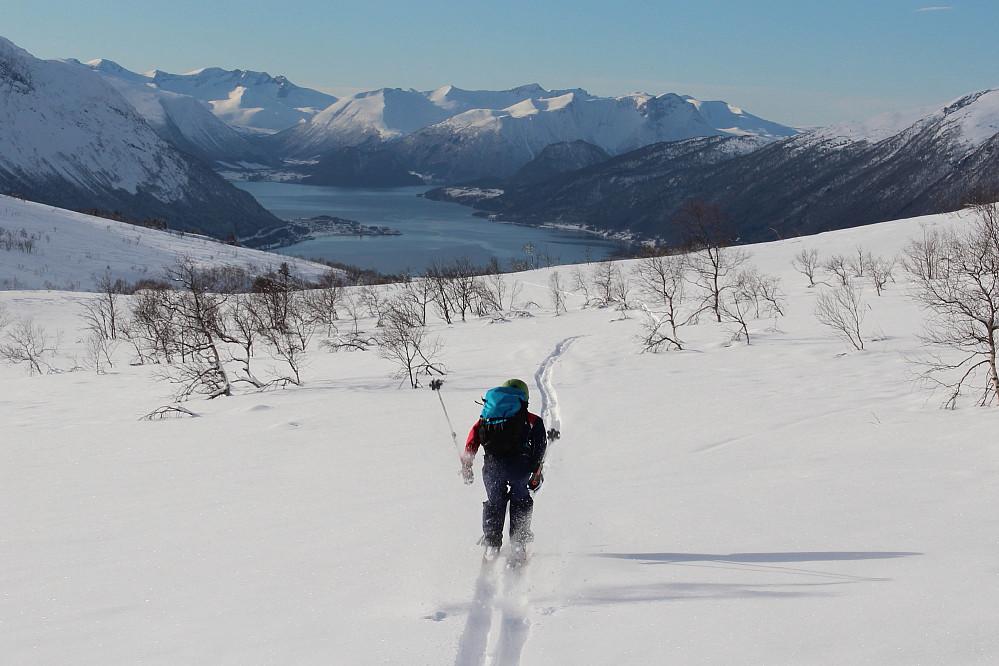 Litt staking må til for å holde unna for tyngre skiløper....