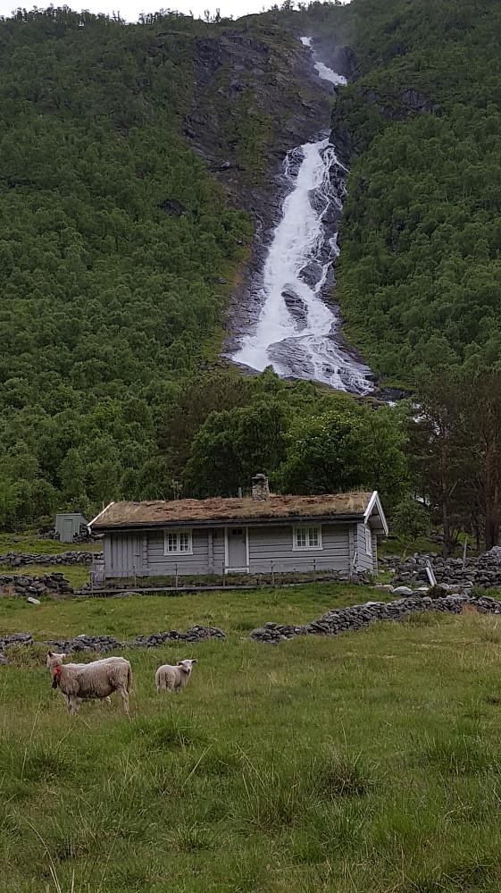 Ned i dalen igjen ved Storsetra. Elva Grynna er vårstor fremdeles..