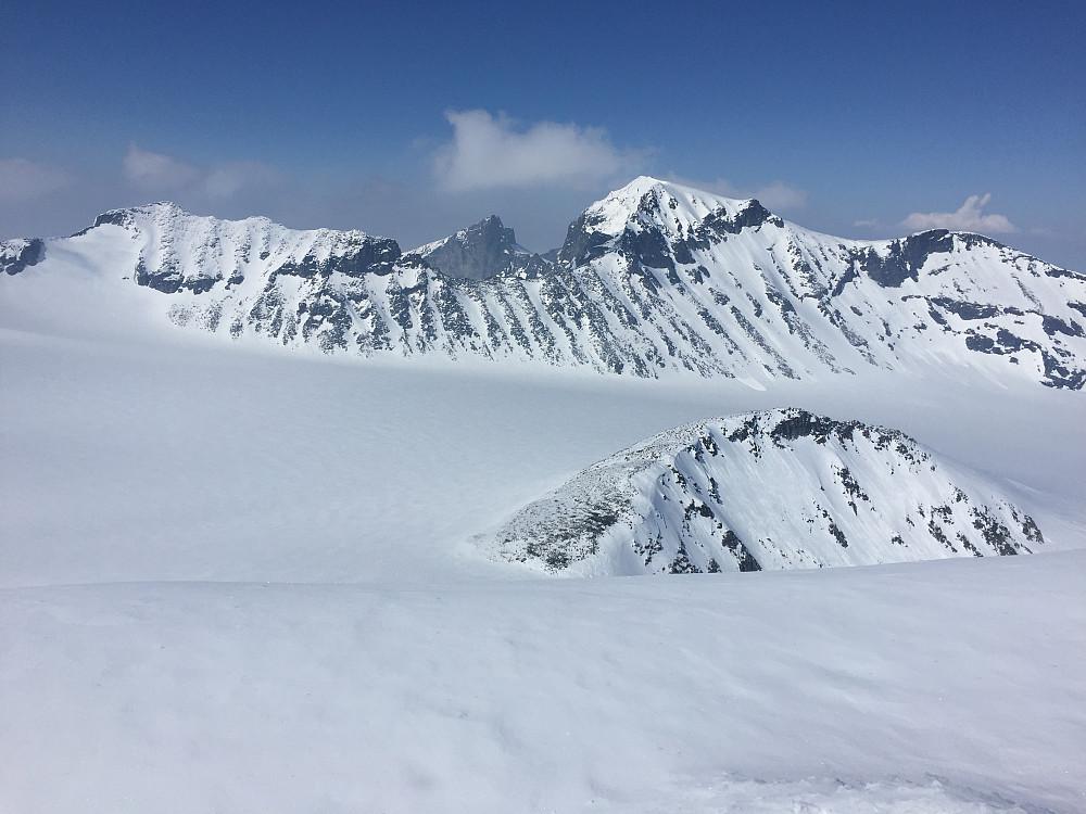 Svellnosbreahesten med Galdhøpiggen høyest bak